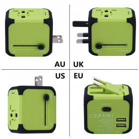 Universal Travel Adapter 4 in 1 US UK EU AU Plug with 2 USB Port - TB-P5 - Black - 2