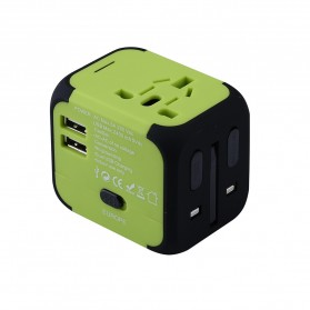 Universal Travel Adapter 4 in 1 US UK EU AU Plug with 2 USB Port - TB-P5 - Black - 3