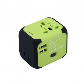 Universal Travel Adapter 4 in 1 US UK EU AU Plug with 2 USB Port - TB-P5 - Black - 5
