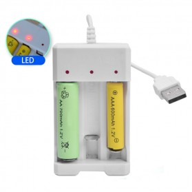 Charger Baterai USB Plug Lithium-ion 3 slot for AA/AAA - HW-A-03 - White