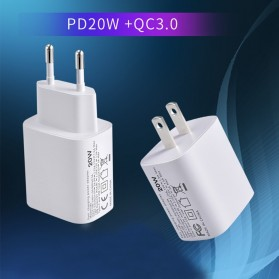ZONGJI Small Travel Charger USB Type C PD Quick Charge 3.0 20W - T087 - White - 3
