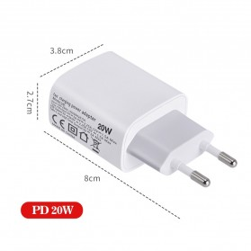 ZONGJI Small Travel Charger USB Type C PD Quick Charge 3.0 20W - T087 - White - 5