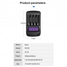 PALO Charger Baterai 4 Slot LCD Display for AA AAA - NC558 - Black - 11