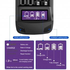 PALO Charger Baterai 4 Slot LCD Display for AA AAA - NC558 - Black - 2