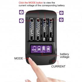 PALO Charger Baterai 4 Slot LCD Display for AA AAA - NC558 - Black - 3