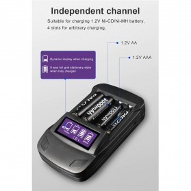 PALO Charger Baterai 4 Slot LCD Display for AA AAA - NC558 - Black - 6