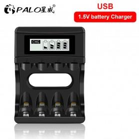 PALO Charger Baterai 4 Slot LCD Display for AA AAA 1.5V - NC560 - Black