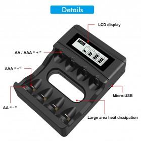 PALO Charger Baterai 4 Slot LCD Display for AA AAA 1.5V - NC560 - Black - 2