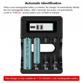 PALO Charger Baterai 4 Slot LCD Display for AA AAA 1.5V - NC560 - Black - 6