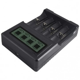 PALO Charger Baterai Lithium 4 Slot LCD Display for 18650 26650 16340 - NC571 - Black