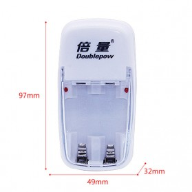 DOUBLEPOW Charger Baterai 2 slot for AA/AAA with 2 PCS AA Battery Rechargeable NiMH 800mAh - DP-B01 - White - 4