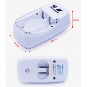 DOUBLEPOW Charger Baterai 2 slot for AA/AAA with 2 PCS AA Battery Rechargeable NiMH 800mAh - DP-B01 - White - 5