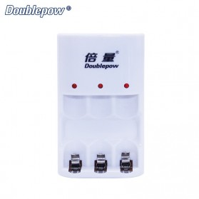 DOUBLEPOW Charger Baterai 3 Slots for AA/AAA Ni-MH Ni-CD - DP-B33 - White
