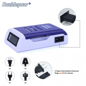 DOUBLEPOW Charger Baterai 4 Slots for AA/AAA with LCD Screen - DP-K209 - Blue - 3