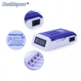 DOUBLEPOW Charger Baterai 4 Slots for AA/AAA with LCD Screen - DP-K209 - Blue - 4