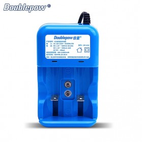 DOUBLEPOW Charger Baterai 2 Slots for AA/AAA 1 Slots 9V - DP-K32 - Blue