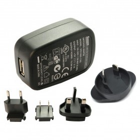 Tablet Charger & Travel Charger - Adaptor Charger Sunny 5V 2.1A USB with EU UK US AU Plug - Black