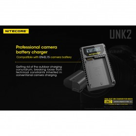 NITECORE Charger Baterai Built-in USB Cable Nikon EN-EL15 - UNK2 - Black - 4