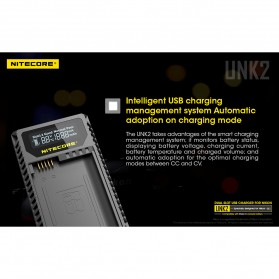 NITECORE Charger Baterai Built-in USB Cable Nikon EN-EL15 - UNK2 - Black - 8