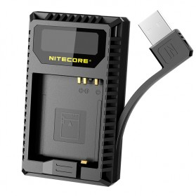 NITECORE Charger Baterai Built-in USB Cable Leica DBP-DC15-E D-lux typ109 - UL109 - Black - 2