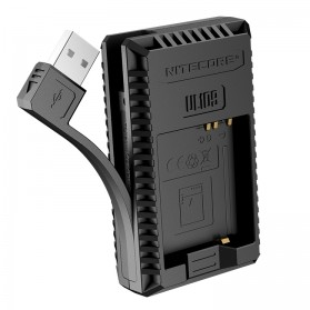 NITECORE Charger Baterai Built-in USB Cable Leica DBP-DC15-E D-lux typ109 - UL109 - Black - 3
