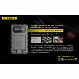NITECORE Charger Baterai Built-in USB Cable Leica DBP-DC15-E D-lux typ109 - UL109 - Black - 5