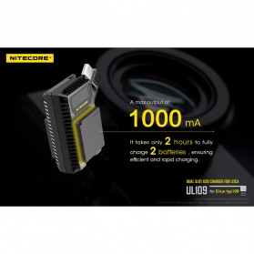 NITECORE Charger Baterai Built-in USB Cable Leica DBP-DC15-E D-lux typ109 - UL109 - Black - 6
