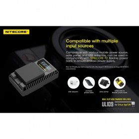 NITECORE Charger Baterai Built-in USB Cable Leica DBP-DC15-E D-lux typ109 - UL109 - Black - 7