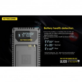 NITECORE Charger Baterai Built-in USB Cable Leica DBP-DC15-E D-lux typ109 - UL109 - Black - 9