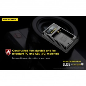 NITECORE Charger Baterai Built-in USB Cable Leica DBP-DC15-E D-lux typ109 - UL109 - Black - 10