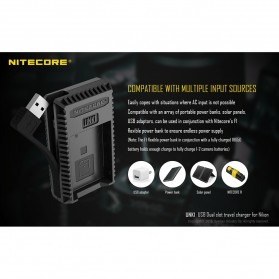 NITECORE Charger Baterai Built-in USB Cable Nikon EN-EL15 EN-EL14 - UNK1 - Black - 5