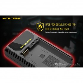 NITECORE Charger Baterai Built-in USB Cable Nikon EN-EL15 EN-EL14 - UNK1 - Black - 9