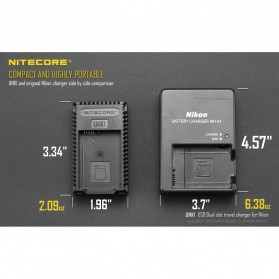 NITECORE Charger Baterai Built-in USB Cable Nikon EN-EL15 EN-EL14 - UNK1 - Black - 10