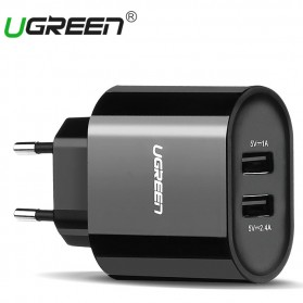 UGreen Dual USB Charger Fast Charging 3.4A EU Plug - CD104 - Black