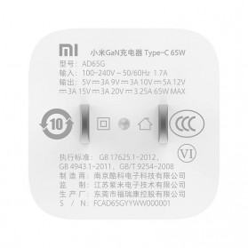 Xiaomi GaN Small Travel Charger USB Type C PD Quick Charge 65W - AD65G - White - 5