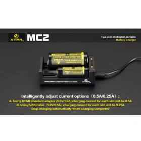 Xtar MC2 Portable Micro USB Dual Battery Charger 2 Slot for Li-ion and IMR - Black - 6