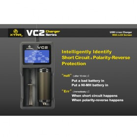 Xtar VC2 Premium Micro USB Battery Charger 2 Slot for Li-ion with LCD Display - Black - 7