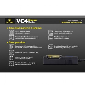 Xtar VC4 Premium Battery Charger 4 Slot for Li-ion and Ni-Mh with LCD Display - Black - 5