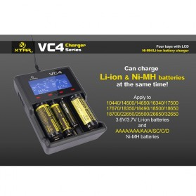 Xtar VC4 Premium Battery Charger 4 Slot for Li-ion and Ni-Mh with LCD Display - Black - 6