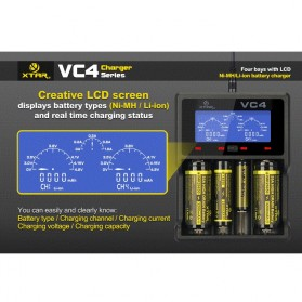 Xtar VC4 Premium Battery Charger 4 Slot for Li-ion and Ni-Mh with LCD Display - Black - 7