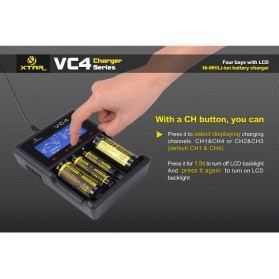 Xtar VC4 Premium Battery Charger 4 Slot for Li-ion and Ni-Mh with LCD Display - Black - 8