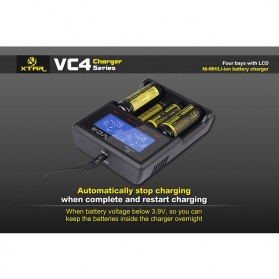 Xtar VC4 Premium Battery Charger 4 Slot for Li-ion and Ni-Mh with LCD Display - Black - 10