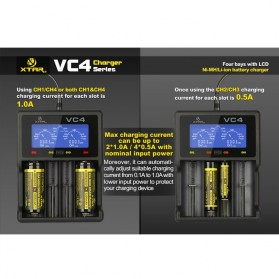 Xtar VC4 Premium Battery Charger 4 Slot for Li-ion and Ni-Mh with LCD Display - Black - 11