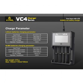 Xtar VC4 Premium Battery Charger 4 Slot for Li-ion and Ni-Mh with LCD Display - Black - 15