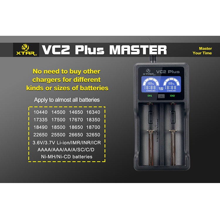 ... Xtar VC2 Plus Master Battery Charger 2 Slot for Li-ion and Ni-Mh ...