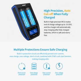 Xtar ST2 Charger Baterai Portable 2 Slot Fast Charge 4.1A USB Type C for Li-ion IMR INR ICR - Black - 4