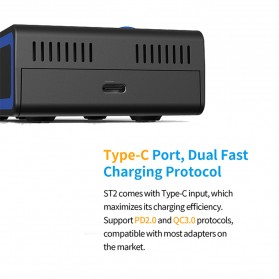 Xtar ST2 Charger Baterai Portable 2 Slot Fast Charge 4.1A USB Type C for Li-ion IMR INR ICR - Black - 5