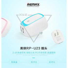 Remax Dual USB Charger Fast Charging 2.4A EU Plug - RP-U23 - Yellow - 2