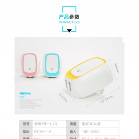 Remax Dual USB Charger Fast Charging 2.4A EU Plug - RP-U23 - Pink - 7