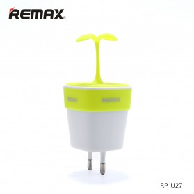 Remax Sapling Series USB Charger Fast Charging 2 Port 2.4A EU Plug - RP-U27 - Green